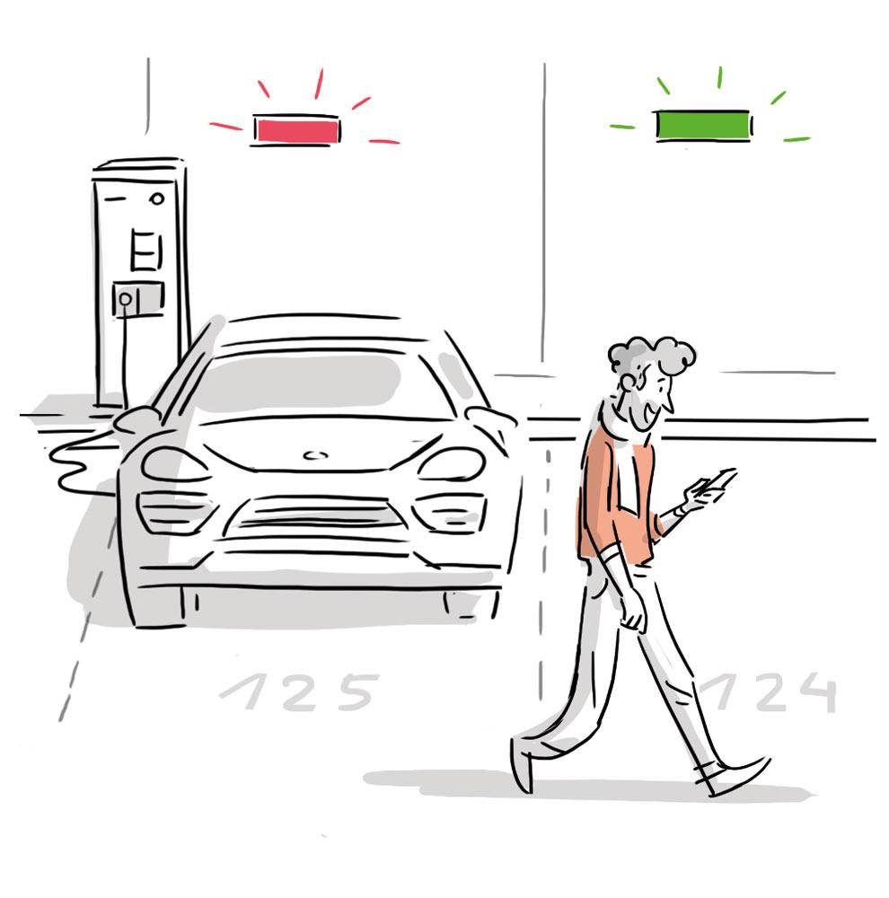 Illustration eines Elektroautos