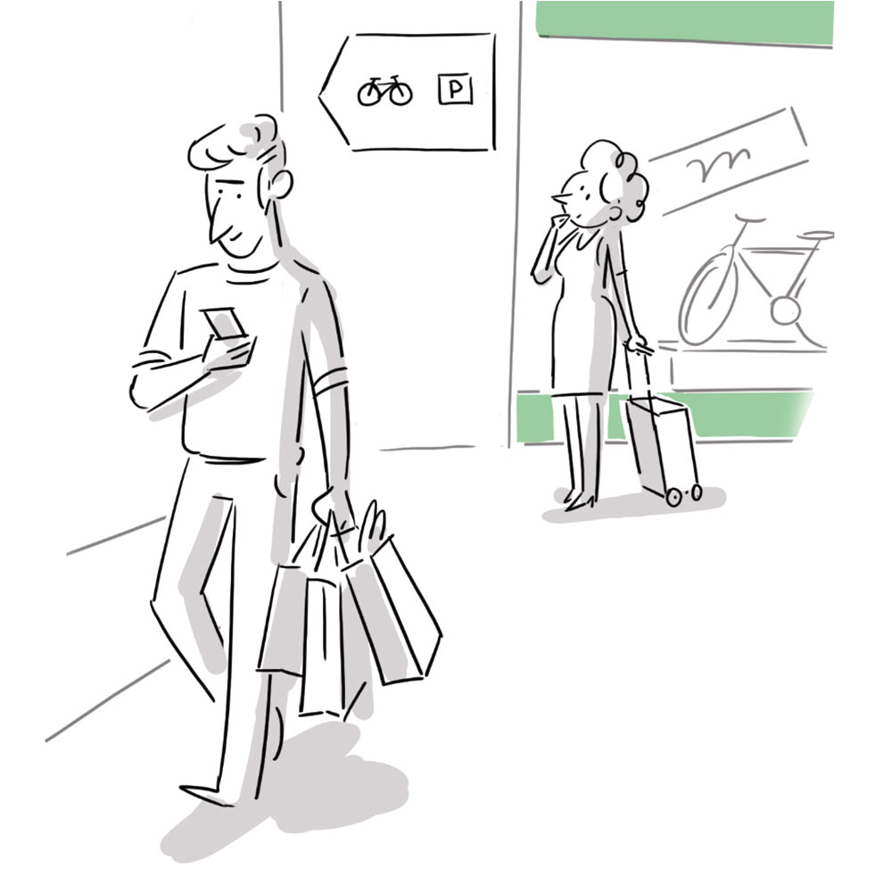 Illustration eines Fußgängers