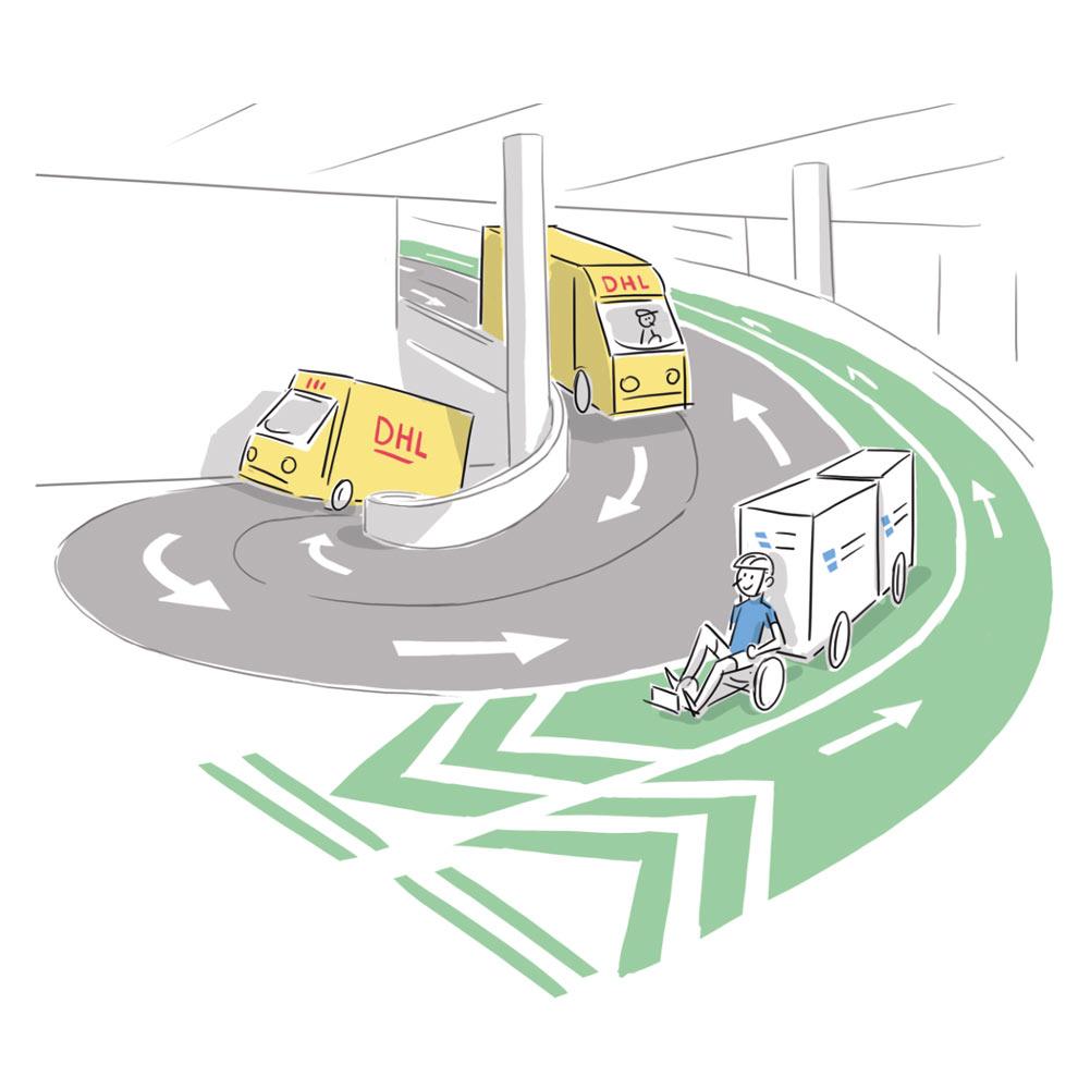 Illustration Gegenüberstellung klassischer DHL Fahrzeuge und ein Kurier mit Lastenfahrrad