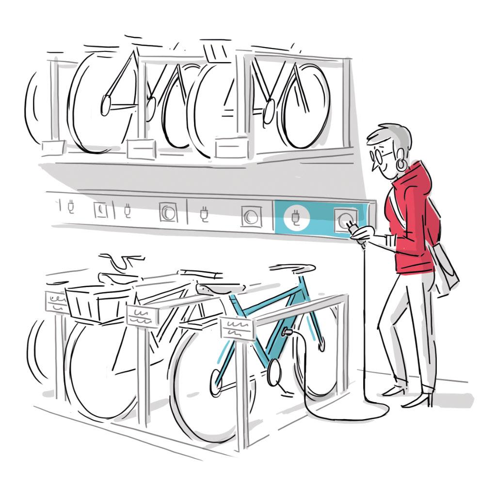 Illustration eines Fahrradparkplatzes für E-Bikes mit Ladestationen
