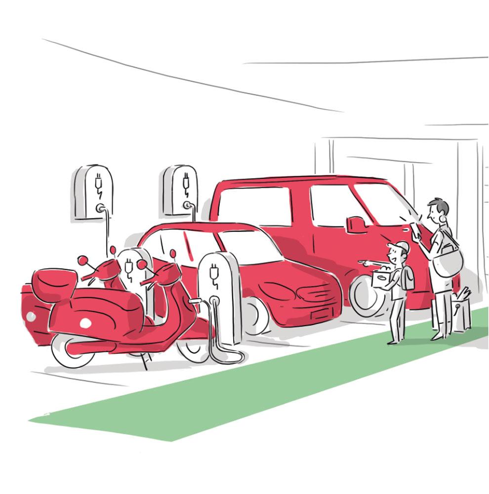 Illustration unterschiedlicher Mobilitätsangebote_E-Autos und E-Roller